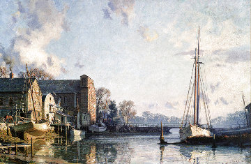 Greenwich: a View of the Lower Landing, Cos Cob At Sunrise in 1895 Limited Edition Print - John Stobart