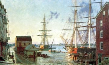 Portsmouth Merchants Row Overlooking Pascatagua River Limited Edition Print - John Stobart