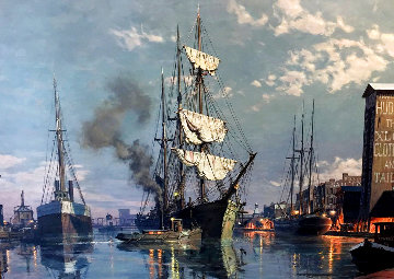 Cleveland: Moonlight Arrival in the Cuyahoga River C. 1876, 1988 Limited Edition Print - John Stobart