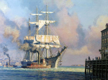 Harbor Farewell 2001 Limited Edition Print by John Stobart