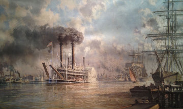New Orleans, The J.M. White Mistress of the Mississippi Leaving the Crescent City in 1887  Limited Edition Print by John Stobart