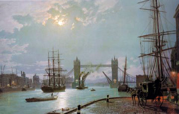 London: Moonlight Over the Lower Pool  1897 Limited Edition Print - John Stobart