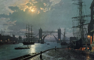 London Moonlight Over the Lower Pool  1897 Limited Edition Print - John Stobart
