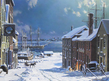 New Bedford, A View Across From Fairhaven in 1882 Limited Edition Print - John Stobart