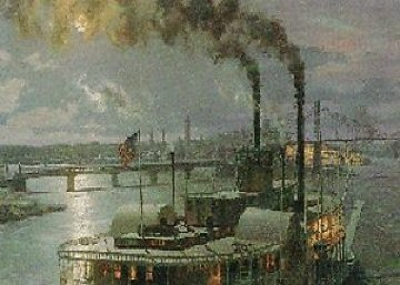 Pittsburg Sidewheel Steamer Dean Adams 1987 Limited Edition Print by John Stobart