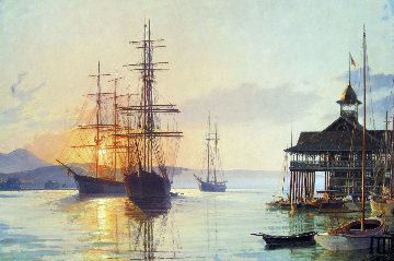 Newport Beach  Pavillion Overlooking Harbour 1988 Limited Edition Print - John Stobart