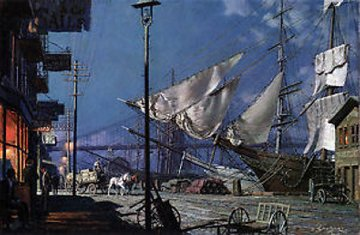 New York South Street Under a Full Moon 1882 Limited Edition Print by John Stobart