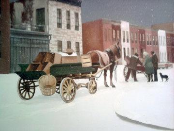 City Snow Original Painting - Thomas Stockett