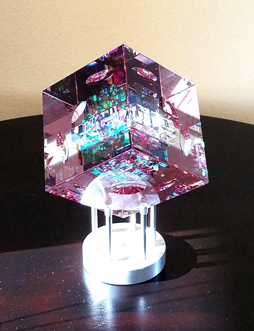 Rose Spectrum Crystal Cube Unique Sculpture 2016 5 in Sculpture by Jack Storms