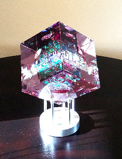 Rose Spectrum Crystal Cube Unique Sculpture 2016 5 in Sculpture - Jack Storms