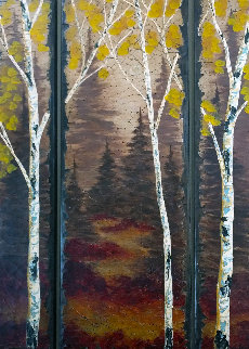 Untitled Landscape on Wood 2006 78x48 Original Painting - Rolinda Stotts