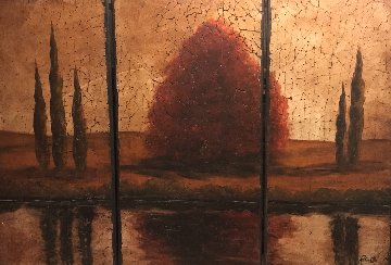 Reflections Tryptich 2006 69x48 on Wood Original Painting - Rolinda Stotts