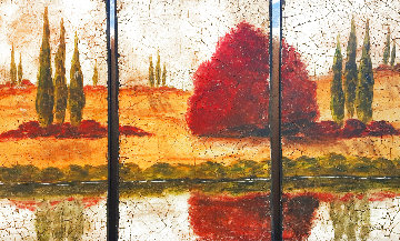 Tuscan Landscape Triptych 48x77 Huge Original Painting - Rolinda Stotts