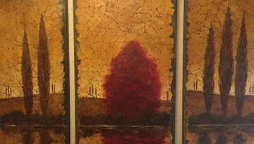 Reflections Tryptich 2006 48x78 Huge Original Painting - Rolinda Stotts