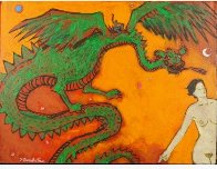 Dragon Lady 18x24 Original Painting by James Strombotne - 1