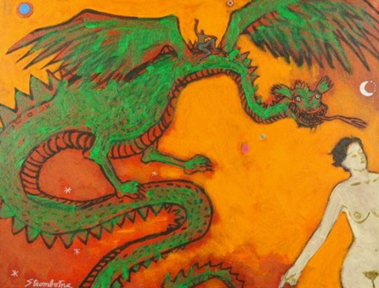 Dragon Lady 18x24 Original Painting by James Strombotne