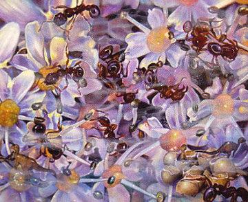 Dino Ants 1991 8x9 Original Painting by Brett Livingstone Strong
