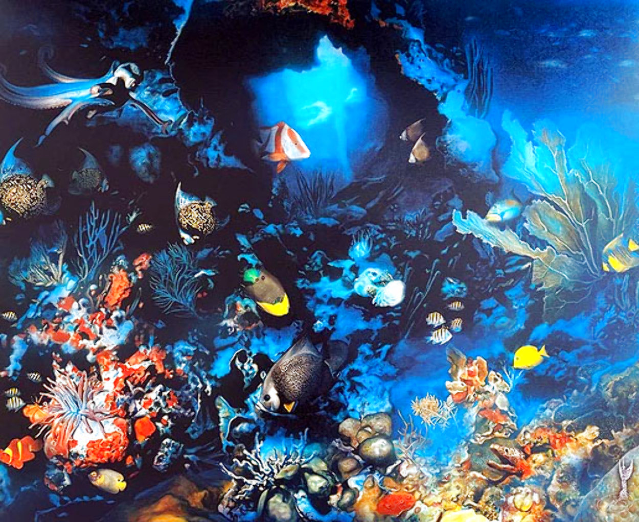 Aquatic Realm AP 1995  w Remarque Limited Edition Print by Brett Livingstone Strong