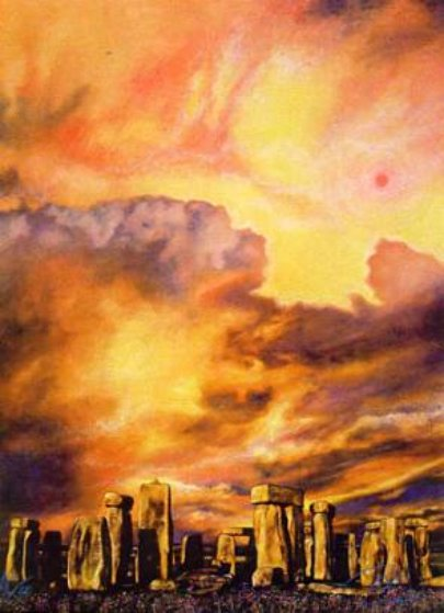 Stonehenge 28x28 Original Painting by Brett Livingstone Strong