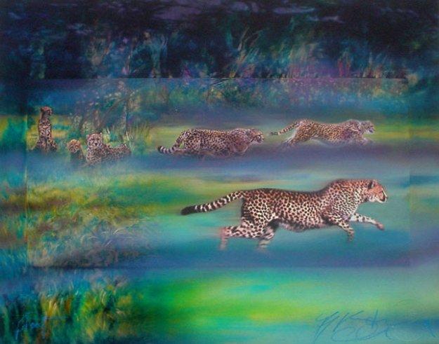 Cheetahs Running PP 1997 Limited Edition Print by Brett Livingstone Strong