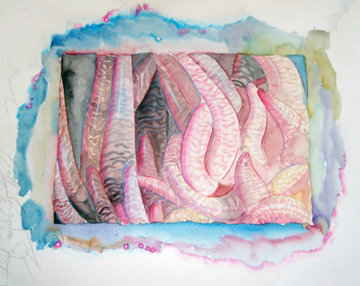 Closer Instint Watercolor 1970 22x36 Watercolor - Brett Livingstone Strong