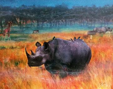 Rhino Watercolor 1998 36x48 Watercolor by Brett Livingstone Strong