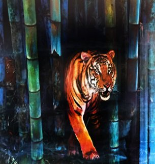 Tiger Watercolor  1998 36x48 Watercolor by Brett Livingstone Strong