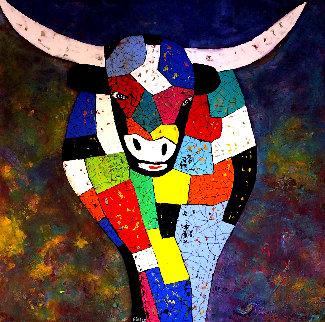 Bull 2020 37x37 Original Painting - Eduardo Suarez Uribe-Holguin