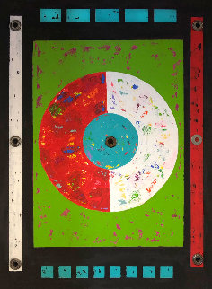 Acetate Disc 2020 37x27 Original Painting - Eduardo Suarez Uribe-Holguin