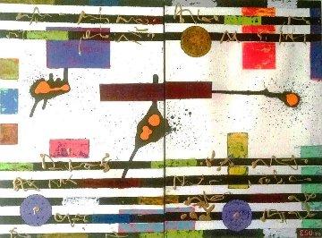 Pentagram Diptych  2014 46x30 Original Painting - Eduardo Suarez Uribe-Holguin
