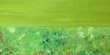 Green Horizon 2014 16x68 Original Painting - Eduardo Suarez Uribe-Holguin