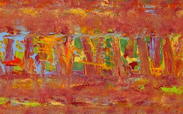 Orange Mind 2014 16x64 Original Painting - Eduardo Suarez Uribe-Holguin