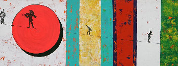 Circus 2014 14x78 Original Painting - Eduardo Suarez Uribe-Holguin