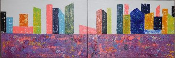 New York Diptych 2015 23x47 Original Painting - Eduardo Suarez Uribe-Holguin