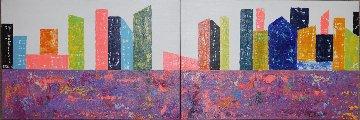 New York Diptych 2015 23x47 Huge NYC Original Painting - Eduardo Suarez Uribe-Holguin