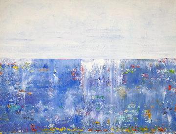 Blue Horizon 2015 32x42 Original Painting - Eduardo Suarez Uribe-Holguin