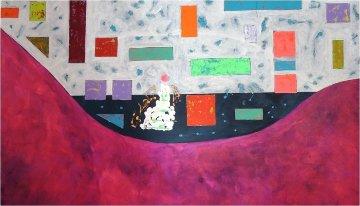 Purple Horse 39x64 Original Painting - Eduardo Suarez Uribe-Holguin