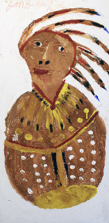 Indian Portrait  24x48 Huge Original Painting - Jimmy Lee Sudduth