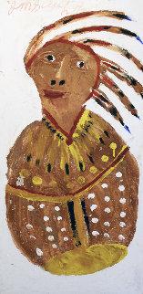 Indian Portrait  24x48 Super Huge Original Painting - Jimmy Lee Sudduth