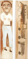 Woman And Train (Double Sided Painting) 43x9 Original Painting by Jimmy Lee Sudduth - 0