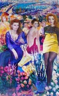 Patio View 96x60 Original Painting by Vadik Suljakov