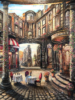 Cafe Piezze Lunnette 50x40 Original Painting - Vadik Suljakov
