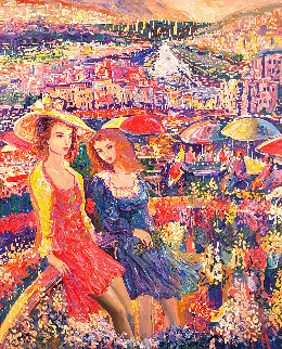 Happy Hour 39x34 Original Painting - Vadik Suljakov