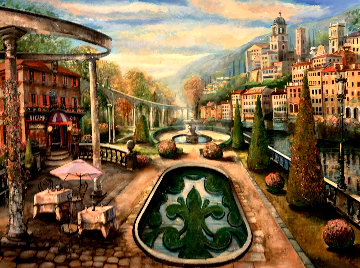 View At Mount Pelmo 45x65 Super Huge Original Painting - Vadik Suljakov