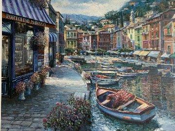 Portofino Marizzi 1999 46x58 Super Huge Original Painting - Vadik Suljakov