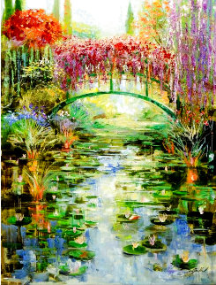 Reflections At Giverny 30x40 Super Huge Original Painting - Vadik Suljakov