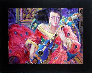 Lady in Red 48x60 Original Painting - Vadik Suljakov