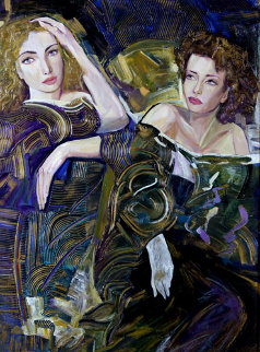 Sisters on the Town 36x48 Super Huge Original Painting - Vadik Suljakov