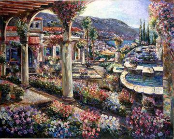 Spanish Hacienda 48x60 Original Painting - Vadik Suljakov