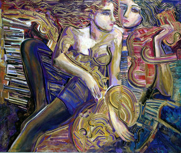 Symphony for Lovers 40x48 Super Huge Original Painting - Vadik Suljakov